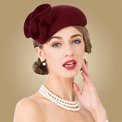 876a5c33d867f9 HappyShopDecoration Fascinator Hats Ladies Wool Flower Cocktail Hat Wedding  Women Pillbox Felt Tea Party Fedoras Black
