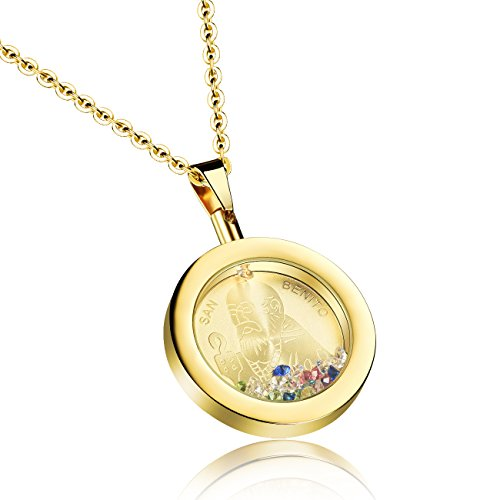 TEMICO Silver/Gold Color Stainless Steel San Benito Saint Benedict Round Pendant Catholic Charm Necklace