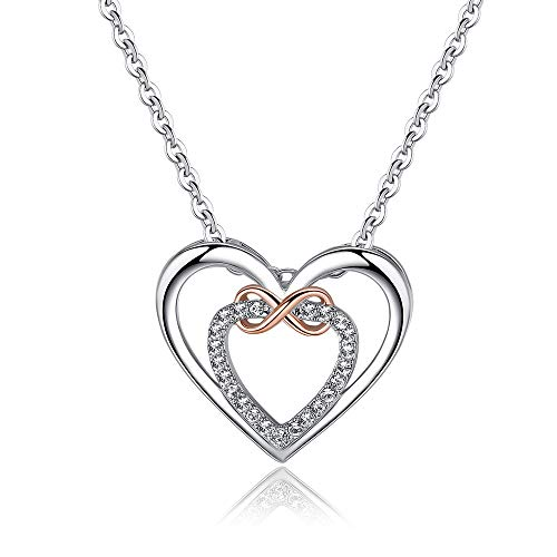 (Heart Necklace, Morenitor Silver Plated Infinite Cross Love Pendant with Shinning Diamond Necklace Mother's Day Jewellery Gifts for Wife Mom Women (Cross Heart))