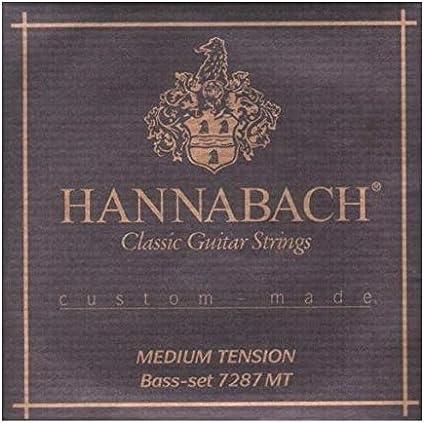 Hannabach Cuerdas Para Guitarra Clasica, Serie 7287 MT Tension Media Custom Made - Juego 3 Cuerdas Graves Re4+La5+Mi6