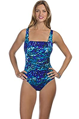 Longitude Beach Club Plus Size Shirred Square Neck One Piece Swimsuit