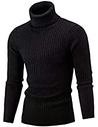 ARTFFEL Mens Pure Color Slim Fit Knitted Turtle Neck Pullover Sweaters Jumper 3 S
