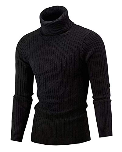 Cameinic Mens Casual Slim Fit Turtleneck Pullover Sweaters Black