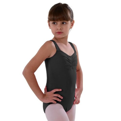 So Danca Black Pinched Neckline Dance Tank Leotard Girls 8-10 - Pinched Neckline Dance Leotard