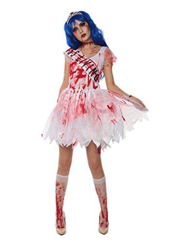 JJ-GOGO Zombie Prom Queen Costume - Women Adult Sexy Halloween Fancy Queen Cosplay Costume -