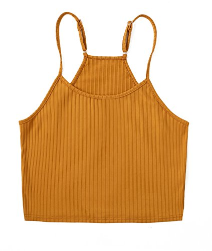 Newchoice Women's Casual Basic Solid Stretchy Crop Top Cami Tank Top, Sleeveless Stretchy Camisole Crop Top (L, 1 Yellow)