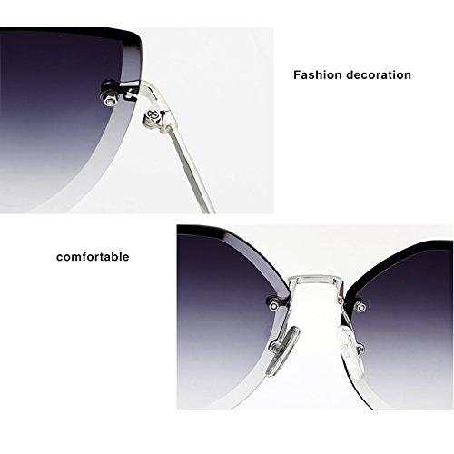Sin gato de libre de marco WLHW Gris sol al Metal Moda Color Resina Gafas Cómodo aire Silicona Juego Mujeres Ojos Purple qgf4wzX