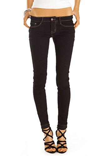 Bestyledberlin pantalon en jean femme, jean slim fit taille basse j37f Noir