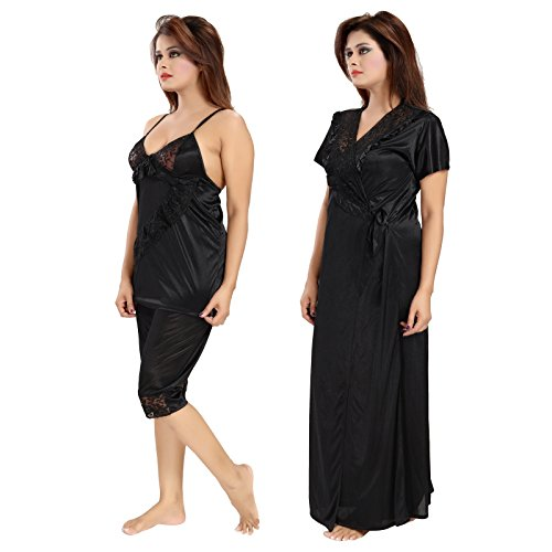 6749dac3c7c Romaisa Women s Satin Nightwear Set of 6 Pcs Nighty
