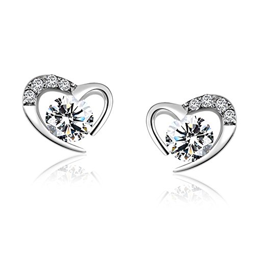 Solid Sterling Silver Stud - Heart Shaped Stud Earrings Solid 925 Sterling Silver studs Pave Cubic Zircon Birthstone Gemstone Earrings for Women Valentines Day Gift