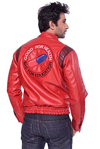 Akira Kaneda Red Men's Cosplay/Halloween Leather Jacket (S)