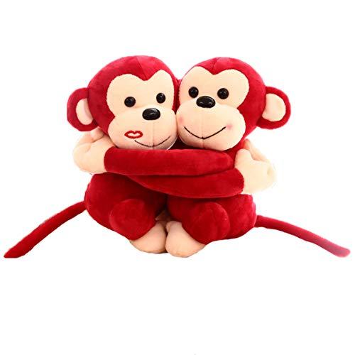 HappySky Lovely Plush Couple Huging Monkey Toys Sweetheart Monkey Bedroom Car Decoration Valentine Confession Gift Toys (red)
