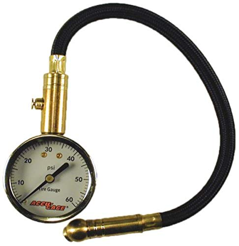 Accu-Gage H60XA (5-60 PSI) Swivel Angle Chuck Dial Tire Pressure Gauge with Hose