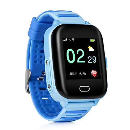 Kids GPS Tracker Watch GPS Locator Watch for Kids 3G Waterproof SOS GSM iOS8.0 Android 4.0 or Above boy Girl Children Two Way Phone Call Standby 100 Hours Blue