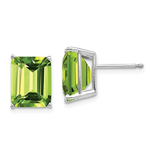 FB Jewels Solid 14K White Gold 10X8mm Emerald Cut Peridot ()