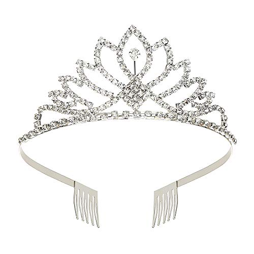 Makone Womens Crystal Tiara Crown Headband for Wedding Prom Bridal Birthday (style -