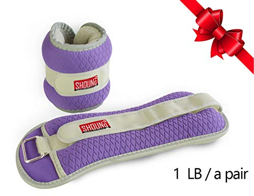 SHOUNg Adjustable Exercise Ankle Weight - Reflective Ankle Weights for Exercise - Hand Weights for Walking - Kids Weight Lifting - Hand Weights for Walking and Gym for Sale, Purple 1 Pound/A Pair
