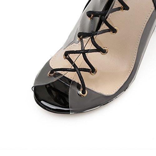 black áspera tacón boca Wind de Fish mujeres de ZHZNVX del los Las alto zapatos noche sexy alto tacón con de cristal y americanas con europeas transparente zapatos npxxUqFS