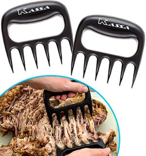Meat Claws by Kassa (Set of 2) - FREE Bonus Recipe Booklet - Meat Shredder for Grilling Tools - Meat Handler Carving Forks - Pulled Pork Claws
