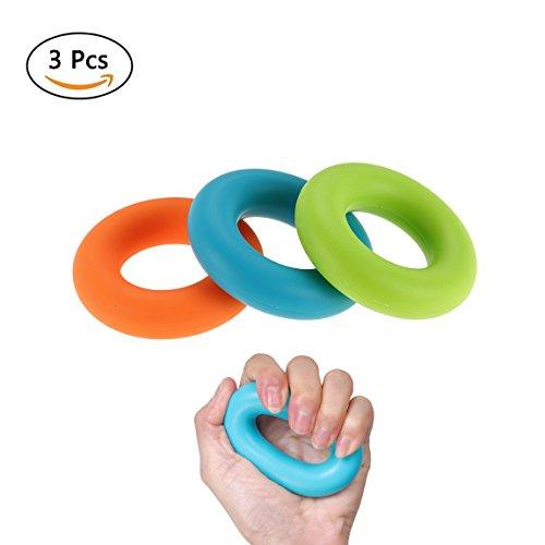 quner Lot de 3bague anneau rééducation de la main poignée silicone Force de préhension Trainer doigts Trainer mains abdominaux 30–hvfe2150lb