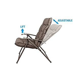 PHI VILLA Patio 3 PC Padded Folding Chair Set Adjustable Reclining Indoor Outdoor Furniture, Khaki