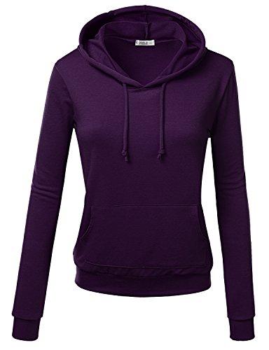 J.TOMSON Women's Basic Long Sleeve Pullover Hoodie with Kangaroo Pocket PLUM S