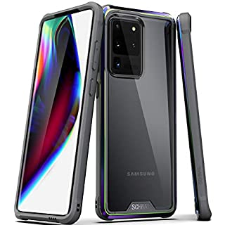 Schnail Saviour Series Samsung Galaxy S20 Ultra Clear Case, [Metal Frame Bumper] [Military Grade Drop Tested] [Slim Fit] Protective Rugged Cover (Gray+Iridescent)