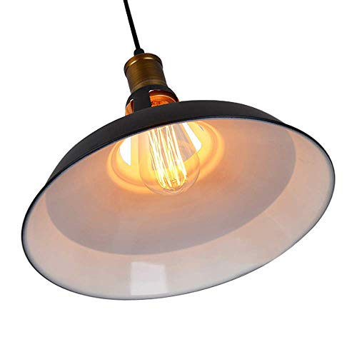 CMYK Industrial Barn Pendant Light, Black Metal Shade Edison Semi-Flush Mount Antique Ceiling Light Suitable for Kitchen,Loft Bar ,Cafe and Living Room
