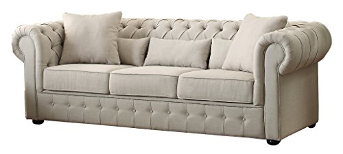 Incroyable Homelegance 8427 3 Grand Chesterfield Button Tufted Upholstered Fabric Rolled  Arm Sofa