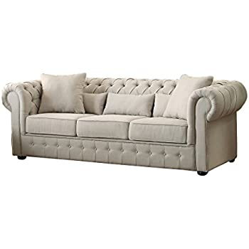 Ordinaire Homelegance 8427 3 Grand Chesterfield Button Tufted Upholstered Fabric  Rolled Arm Sofa