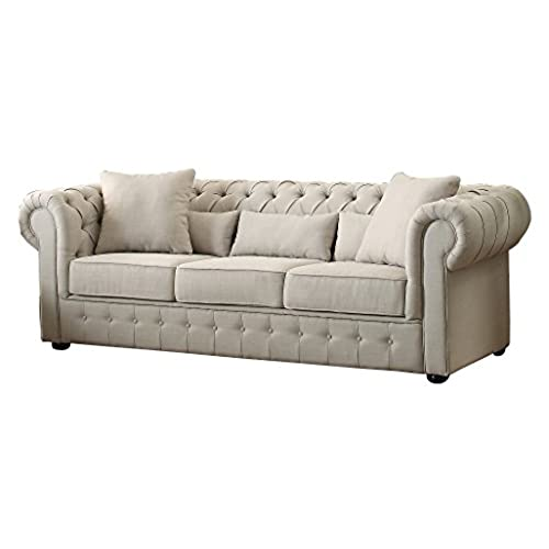 Homelegance 8427 3 Grand Chesterfield Button Tufted Upholstered Fabric  Rolled Arm Sofa