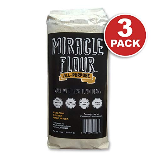 100% Lupin Flour, Non-GMO, Made in USA, All Purpose, Gluten Free, Vegan, Plant Protein, Low Carb Flour, Keto-Friendly, High Protein, Miracle Flour (3 Pack)