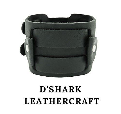 (WBL001) 2'' Wide Handmade Black Punk Rock Biker Leather Cuff Wrist Watch Band - Adjustable by D'SHARK