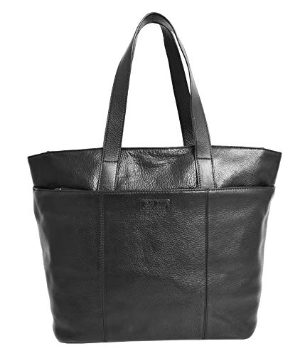 Genuine Black Leather Shoulder Bag For Womens Large Shopper Tote Day Handbag KAY