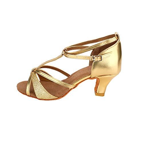 Sandals Heel Ballroom TRIWORIAE Dance Women's Standard Shoes Gold 5cm Latin YTnvwqg