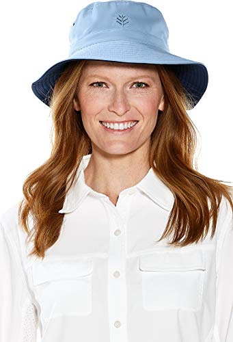 (Coolibar UPF 50+ Men's Women's Reversible Bucket Hat - Sun Protective (Small/Medium- Vintage Blue/Navy))
