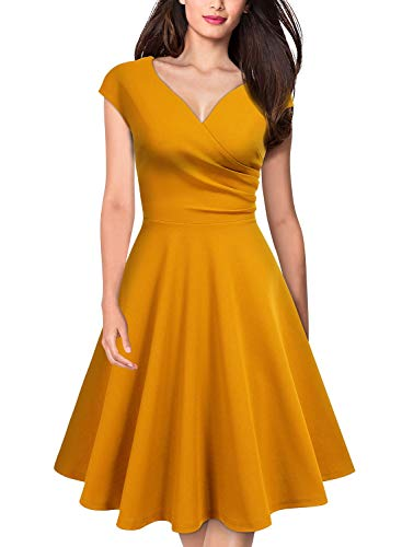 Cap Sleeve V-neck Cap - MISSMAY Women's Retro Deep V Neck Cap Sleeve Cocktail Party Fit and Flare Dress X-Large Yellow