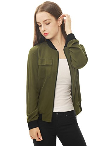 419b9a53258 Allegra K Women s Multi-Pocket Zip Front Lightweight Bomber Jacket