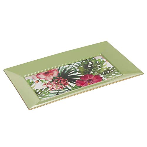 Hogar Deco Centro de Mesa Comedor y Salon Decorativo Rectangular Tropical 30 cm