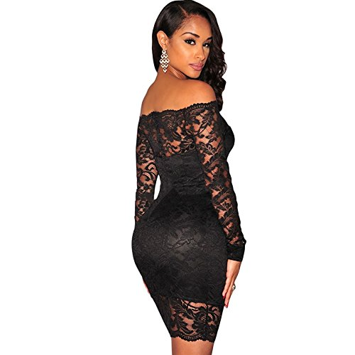 cae8ba73c Carolina Dress Vestidos De Fiesta Negros Sexys Cortos Ropa De Moda Para  Mujer Elegante Casuales de Encaje VE0045 at Amazon Women s Clothing store