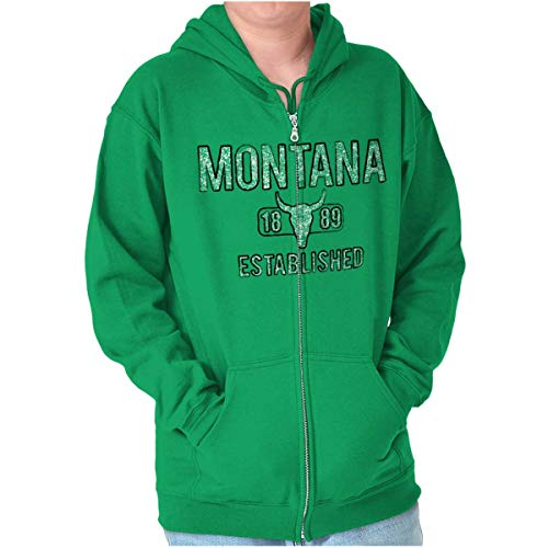 Montana Rodeo Vintage Workout MT Americana Zip Hoodie Irish Green