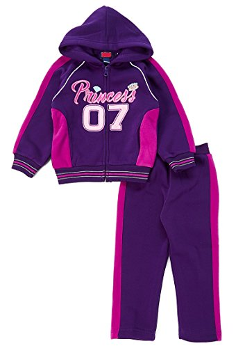 Little Girls Fleece Purple Track Suit Hooded Jacket and Jogger Pants Two-Piece Set Size 5