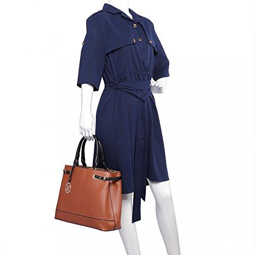 Miss Lulu - Bolso de tela de piel sintética para mujer marrón
