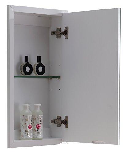 Dawn AMJWMC240530 Jane Series Mount Medicine Mirror Cabinet with 1 Glass Shelf, , White