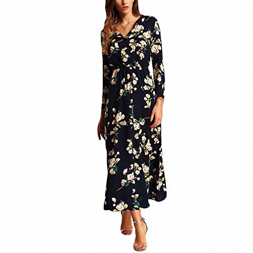 Costume Brasileiro (Boho Women Maxi Dresses Navy V Neck Long Sleeve Womens Elegant With Button Floral Long Party Dress Blue)