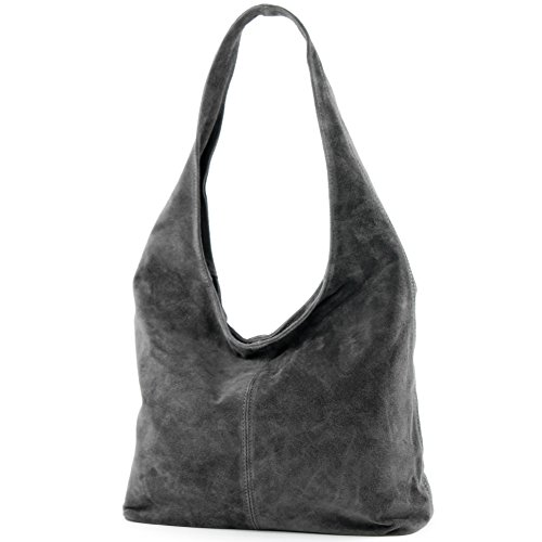 en Modamoda Damentasche à T150 Dunkelgrau de Sac cuir Sac bandoulière Wildleder ital bandoulière à Bq6XgB