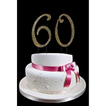 Large Gold 60th Birthday Wedding Anniversary Number Cake Topper with Sparkling Rhinestone Crystals - 4 1/2 Tall - Cake Decoration Jewelry by onlinepartycenter