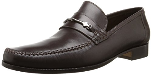 Bruno Magli Men's Pittore Nappa Leather Loafer with Bit and Cross-Stich Vamp, Dark Brown, 11 M US