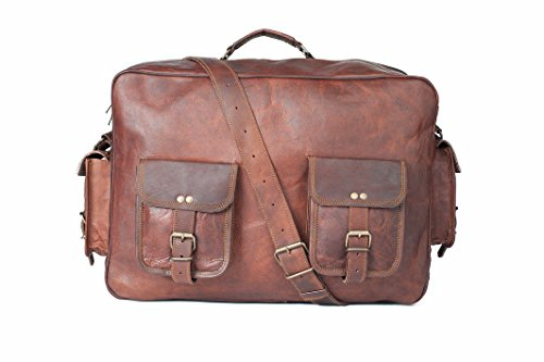 thehandicraftworld Vintage leather handmade overnight style messenger satchel bag briefcase 16'' by thehandicraftworld
