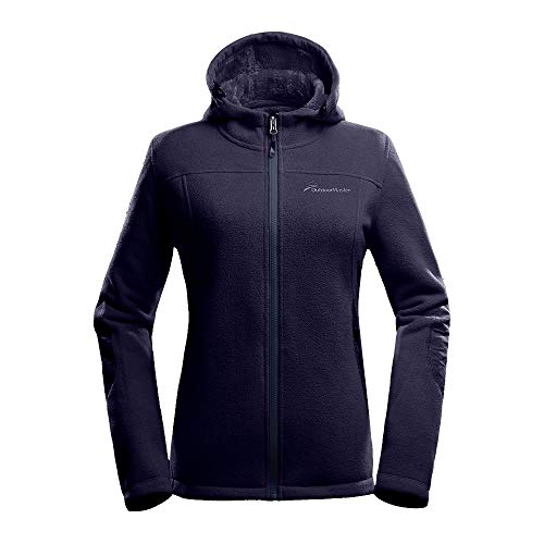 OutdoorMaster Women's Fleece Jacket - Waterproof & Stain Repellent, Ultra Soft Plush Lining & Optional Hoodie - Full-Zip (DarkBlue Hoodie,M)